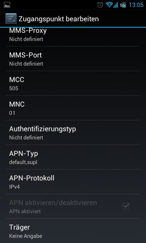 Screenshot 2 APN-Einstellungen SIM Smartphone / Anywhere Pack / iPad SIM
